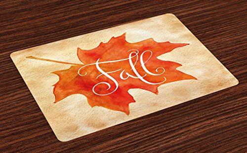 Ambesonne Fall Place Mats Set of 4, Vivid Watercolor Style Maple Leaf Fall Word on Vintage Backdrop Artsy, Washable Fabric Placemats for Dining Room Kitchen Table Decor, Orange Pale Brown White - Fabric Maple Table