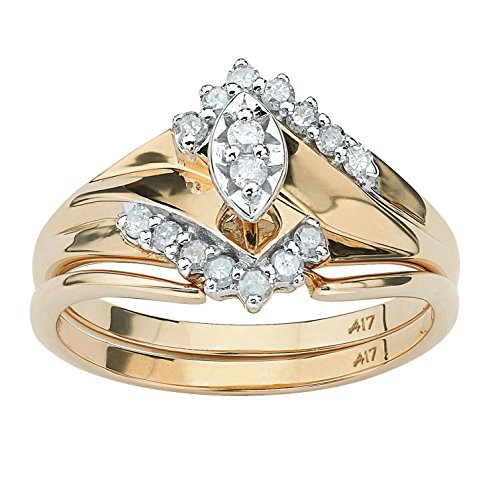Marquise-Cut White Diamond 10k Yellow Gold Bridal Ring Set (.20 cttw, IJ Color, I2-I3 Clarity) Size 9