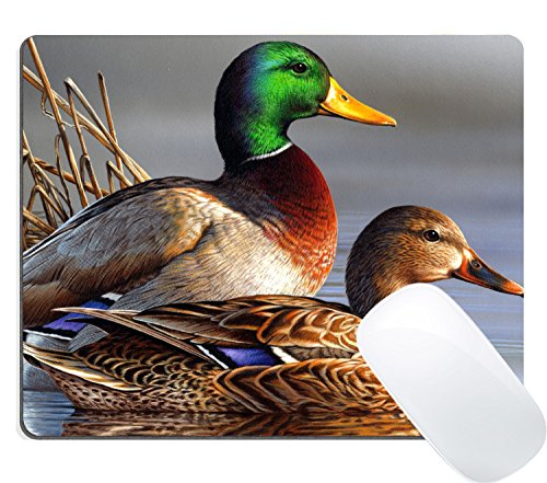 Wknoon Cute Gaming Mouse Pad Custom Design, Oil Painting Mallard Duck Art Bird Mousepad Mat