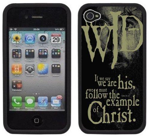 WWJD | Chrétien | Fait à la main | iPhone 4 4s | Etui Housse noir