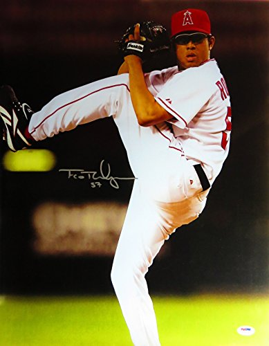 (Francisco Rodriguez Autographed 16X20 Photo Angels Pitching Creases PSA/DNA )