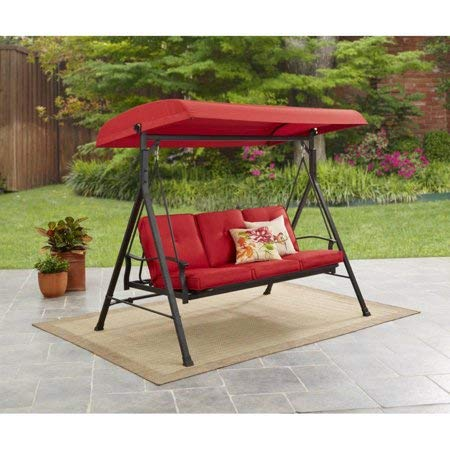 (Mainstay Durable Rust-Resistant Powder-Coated Steel Frame 3-Person Canopy Porch Swing Bed, (Red) + Free Cleaning Dust Cloth)