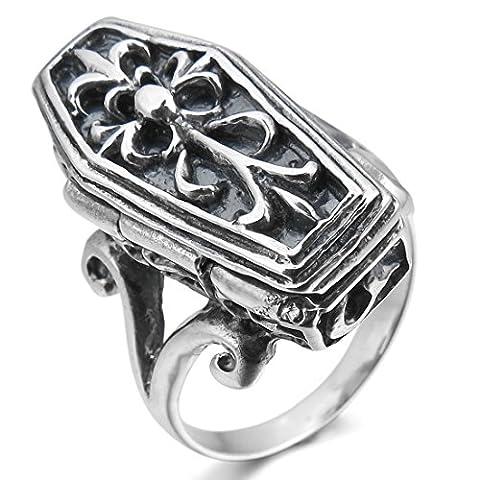 INBLUE Men's 925 Sterling Silver Ring Coffin Box Knight Fleur De Lis Skull Size9 (Sterling Silver Coffin Ring)
