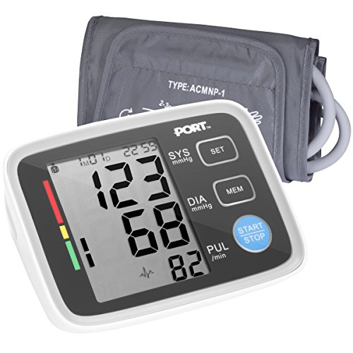 Digital Blood Pressure Monitor By PORT: Systolic And Diastolic Blood Pressure Automatic Device, Accurate Readings, Easy To Understand, One Size Fits All Arm Sleeve, Memory Function For 2 ()