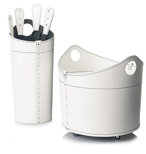 NICAD: Set para Chimenea y Estufas en Cuero de Color Blanco Compuesto por Porta Leña