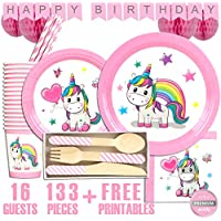 Chic Apricot Tableware and Decorations 16 Girls Unicorn Party Supplies Set
