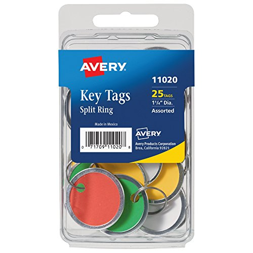 Avery Metal Tags (Avery Paper Key Tags, Metal Rim, Split Ring, Assorted Colors, 1-1/4