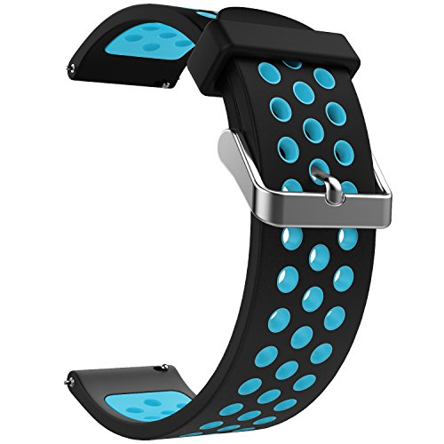 Emibele 20mm Universal Watch Band, Premium Soft Silicone Adjustable Replacement Strap for 20mm Sport Strap, Black & Blue