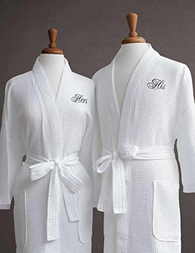 Luxor Linens Egyptian Cotton His/Hers Waffle Weave Robe - Perfect Wedding Gift! - His & - My Best Face Frames Eye For