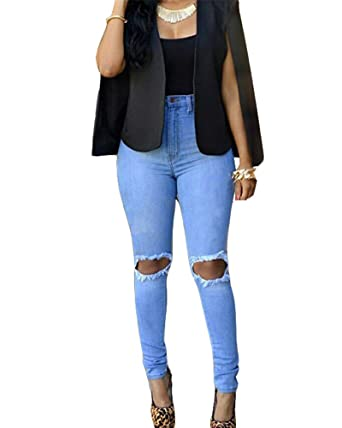 Damen Jeans Skinny Hose Zerrissen am Knie High Waist Jeanshose Hochbund Löcher  Röhrenjeans Bleistifthose Risse ae0f98a5b3