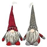 Hanna's Handiworks Medium Gnome Hat Sitter Red and Grey 16 x 8 Fabric Christmas Figurines Set of 2