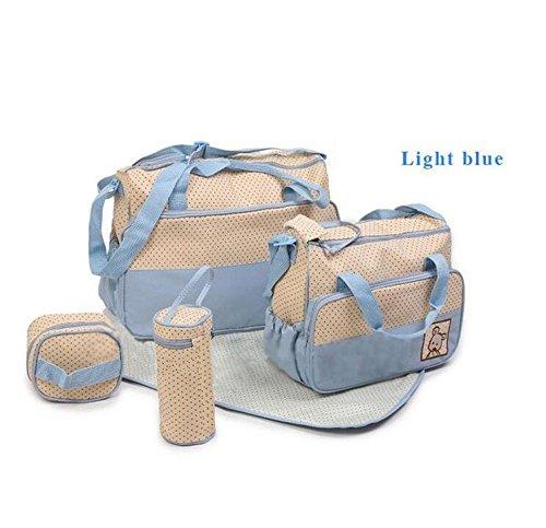 grandey 5en 1multifunción de gran capacidad cambiador de pañales para bebé Pad Viaje momia bolsa bolsa de saco de bolso gran capacidad multifunción portátil botella de Messenger embarazadas Madre de azul claro