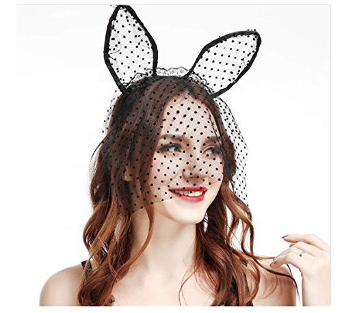 Ru S Cat Ears Headband with Veil Halloween Masquerade Party Lace Womens Masquerade Mask -