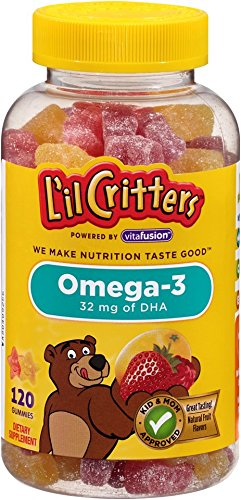 Omega 3 Gummies - L'il Critters Omega-3 Gummy Fish with DHA, 120 Count, Pack of 3 (Packaging May Vary)