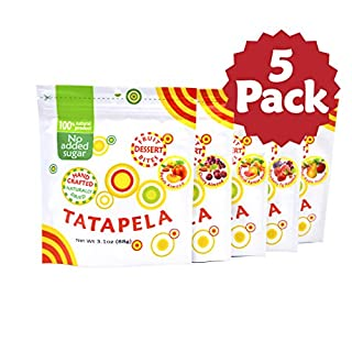 Tatapela 100% Natural Fruit Snacks, 5 Pack, Mixed Flavors, Cherry, Peach, Grapefruit, Strawberry Fig, Apple Pear, Real Natural Fruit Chewy Bites, No Sugar Added, Healthy Vegan Chews, Made In USA