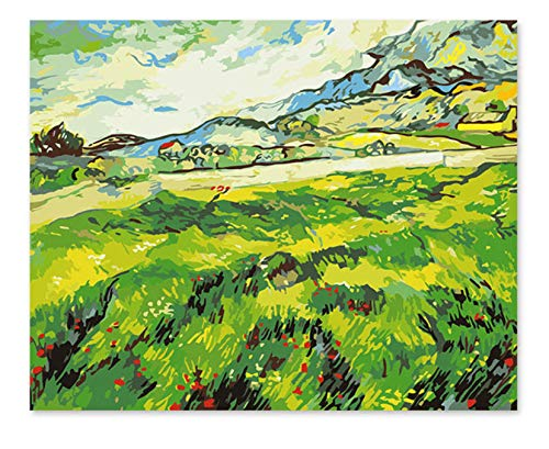 Superlucky Digitale Ölfarbe Van Gogh Landschaft Feld grün Frühling Malen nach Zahlen Landschaft zeichnen von Zahlen 40x50cm mit Rahmen B07K4BDR3K | Deutschland München
