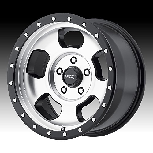American Racing AR969 Ansen Off Road Wheel with Machined Finish and Satin Black Ring (17x9