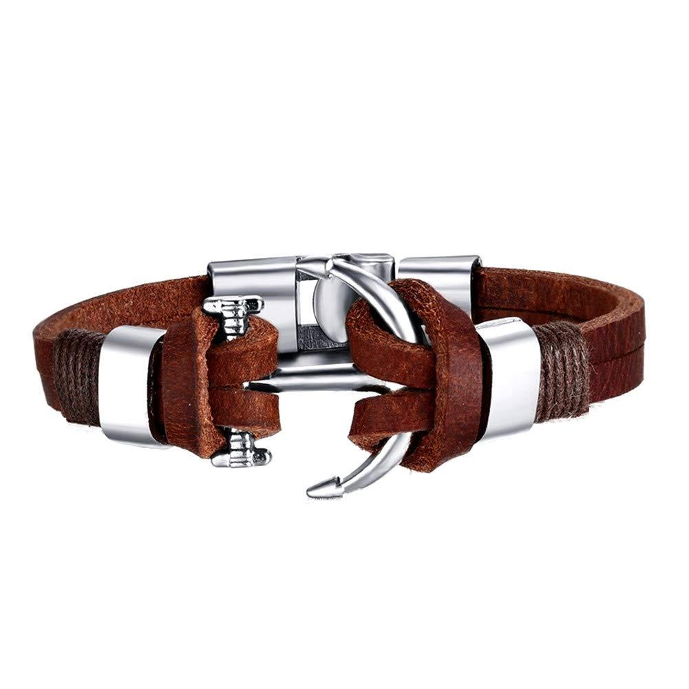 AIUIN Leder Surfer-Armband in Braun Anker Schmuck für Herren Edelstahl Geschenk zu Weihnachten für Männer Freund Ehe-Mann