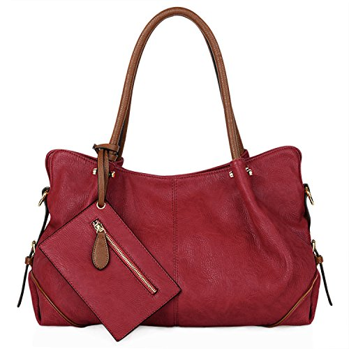 UTO Women Hobo Purse 3 Pieces Handbag Set PU Leather Tote Bag Satchel Shoulder Bags with Wristlet Wallet Red