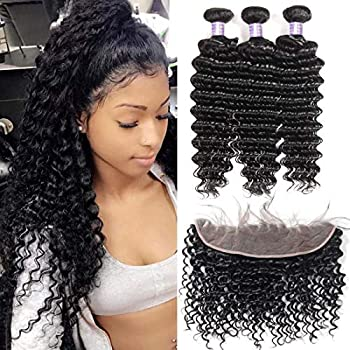 Image of Allove Hair 8a Brazilian Deep Wave Bundles With Frontal (18 20 22+16) Unprocessed Virgin Human Hair Weave Wet and Wavy Bundles with Ear to Ear Frontal Lace Closure with Baby Hair