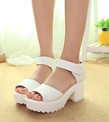 Minetom Women Summer Velcro Peep Toe Sandals Mid Heel Ankle Strap Shoes Platform Wedge Beach Sandals White UK 6.5 J18Klv