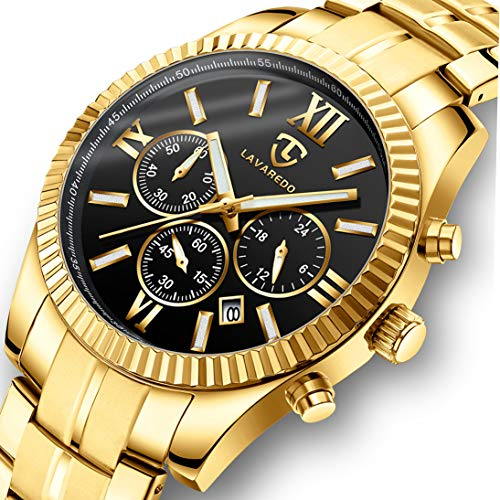 Watch, Men Watches, Luxury Business Classic Gold Stainless Steel Waterproof Luminous Chronograph Date Dress Quartz Analog Wrist Watch