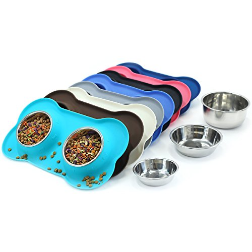 (Vivaglory Dog Bowls, Set of 2, Stainless Steel Water and Food Bowl Pet Puppy Cat Feeder with Non Spill Skid Resistant Silicone Mat, Small, Turquoise)