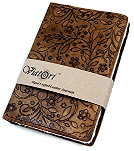 "Handcrafted Vintage Leather Journal (6""x9"") with Handmade Parchment Paper by Viatori by At Home Products"