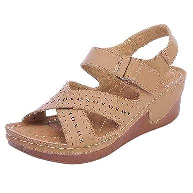02960f348a1d7 Amazon.com: Tsmile Women Sandals Summer Women Platform Hollow Wedge ...