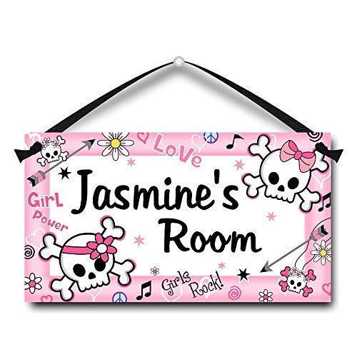 Kids Door Sign Personalised Pink Girl Skulls