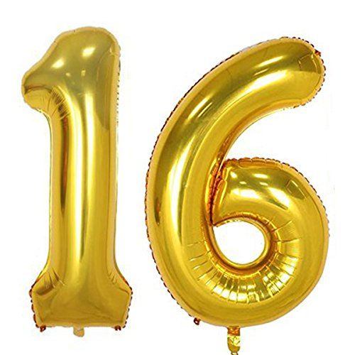 Sweet 16 Party Tape - 40inch Gold Foil 16 Helium Jumbo Digital Number Balloons, 16th Birthday Decoration for Girls or Boys, sweet 16 Birthday Party Supplies