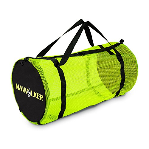 (Dive Bag Scuba Mesh Snorkel Duffle Bag with Adjustable Shoulder Strap for Aquatics Scuba Diving Snorkeling Swimming Beach Sports Gears Wet Cloth & More XL Fluorescent Green NAWALKER)