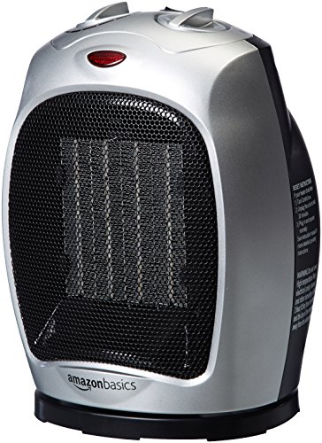 AmazonBasics 1500 Watt Oscillating Ceramic Space Heater with Adjustable Thermostat - Silver