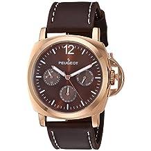 Peugeot Men's 'Rose Gold Multi-Function' Quartz Metal and Leather Sport Watch, Color:Brown (Model: 2056RBR)