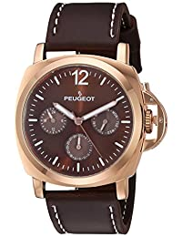 Peugeot Men's 'Rose Gold Multi-Function' Quartz Metal and Leather Sport Watch, Color:Brown (Model: 2056RBR)