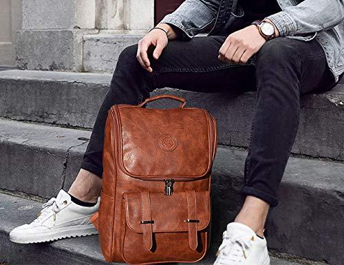 60d81c4bb0b0 Vegan Leather Backpack Slim Vintage Laptop Backpack for Women Men,  Professional Water Resistant Brown College School Bookbag Weekend Travel  Daypack ...