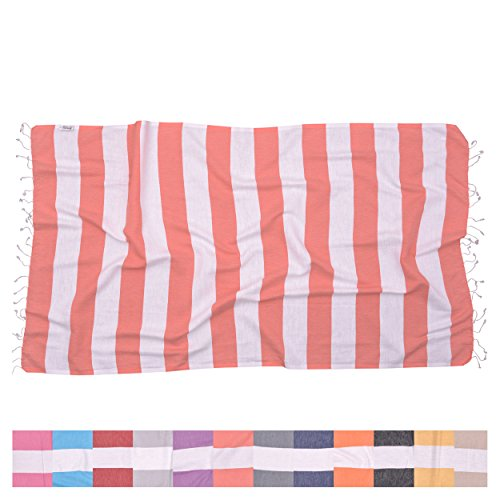 (The Riviera Towel Company Biarritz Coral Striped Turkish Towel for Bath & Beach - Swimming Pool - Yoga Pilates - Picnic Blanket - Scarf Wrap - Peshtemal Hammam Fouta)