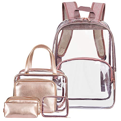 28d1aea6013e NiceEbag 6 in 1 Clear Backpack w Cosmetic Bag Heavy Duty School Bookbag w