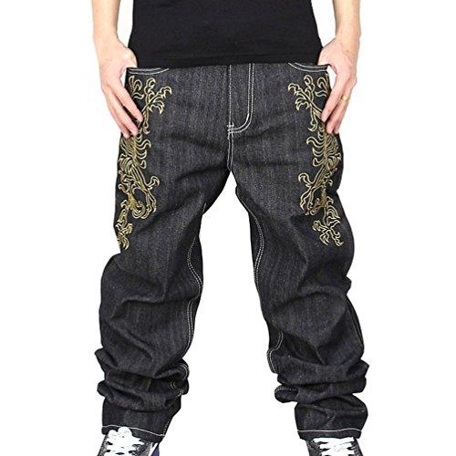 Zero Men's Hip Hop Graffiti Print Baggy Jeans Denim (34, j9018)