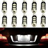 10x Partsam LED Interior Dome Map Lamp License Plate Lights 3-5050-SMD Epistar LED 39mm Festoon C5W 6418