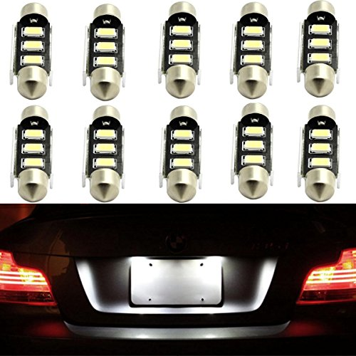 10x Partsam LED Interior Dome Map Lamp License Plate Lights 3-5050-SMD Epistar LED 39mm Festoon C5W 6418 by Partsam