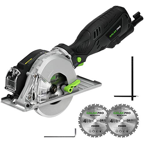 Metal Cutting Circular Saw, GALAX PRO 5.8A 3500RPM 4-3/4 In. Metal Circle Saw with 2PCS Metal-Cutting Saw Blades for Conduit, Pipe, Sheet Metal, Square Tubing Cutting