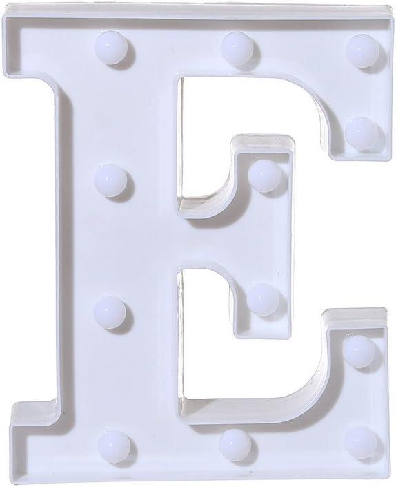 blancE Fcostume Autocollants Lettres Lettre Decorative Lettre Lumineuse Mariage Anniversaire ★ La Lettre De LAlphabet LED sallume pour Allumer des Lettres en Plastique Blanches Suspendues A-M /&