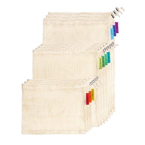 Bolsas reutilizables de algodón natural, malla biodegradable, lavable a máquina y secadora, peso ligero sobre etiqueta,...