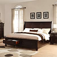 Roundhill Furniture Brishland Solid Wood Storage Bed, Rustic Cherry
