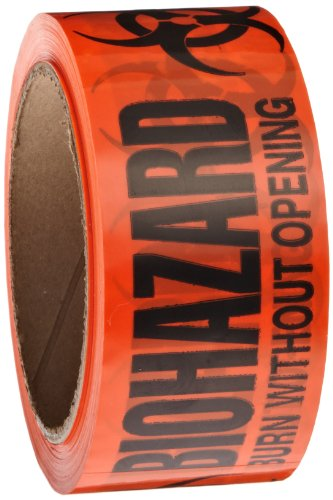 Roll Products 142-0007 PVC Film Biohazard Warning Tape with Black Imprint, Legend