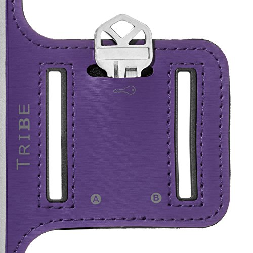 Large Product Image of Water Resistant Cell Phone Armband- 5.7 Inch Case for iPhone 6/6S Plus, S8, S7/S6 Edge, PIxel XL, All Galaxy Note Phones - Adjustable Reflective Velcro Workout Band & Screen Protector, Purple