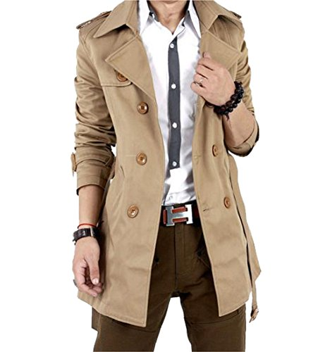 Comfy Mens Thick Warm Wild Long Sleeve Trench Coat Khaki US (Long Sleeve Trench Coat)