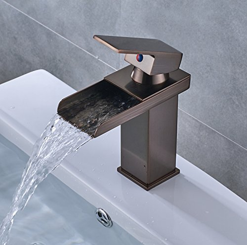 Waterfall Bathroom Basin Faucet Deck Mounted One Hole Vanity Sink Mixer Tap (Brass Copper Waterfall)