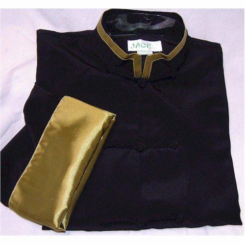 Olive Trim Black Rayon Silk Mandarin Collar Kung Fu Jacket,